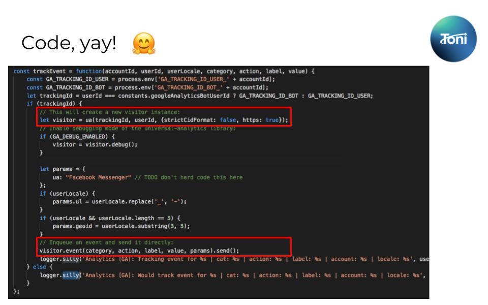 Google Analytics in Chatbot mit node.js